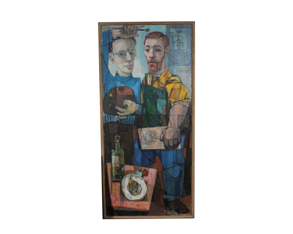 "Harry Engel 1951 Signed ""Two Artists"" Encaustic on Canvas Double Portrait"