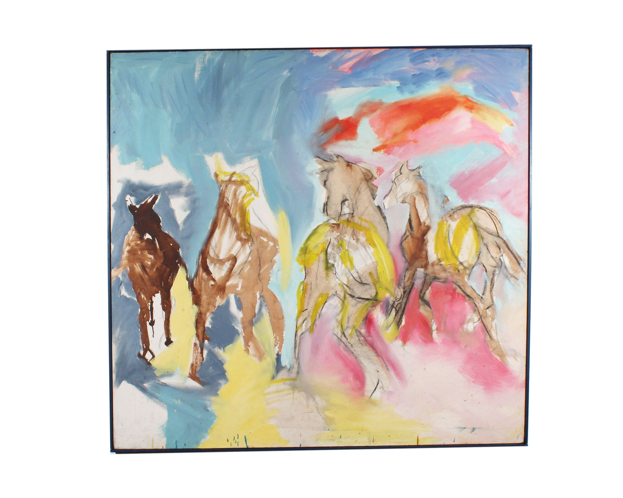 Katharine Sutphin Oil on Canvas Abstract Painting of Horses