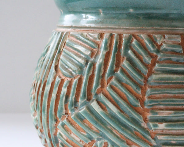 John Nartker Signed Art Pottery Green Sgraffito Vase