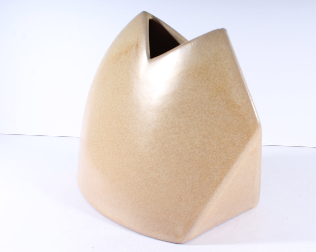 James Johnston Modernist Ceramic Tan Beige Geometric Vase
