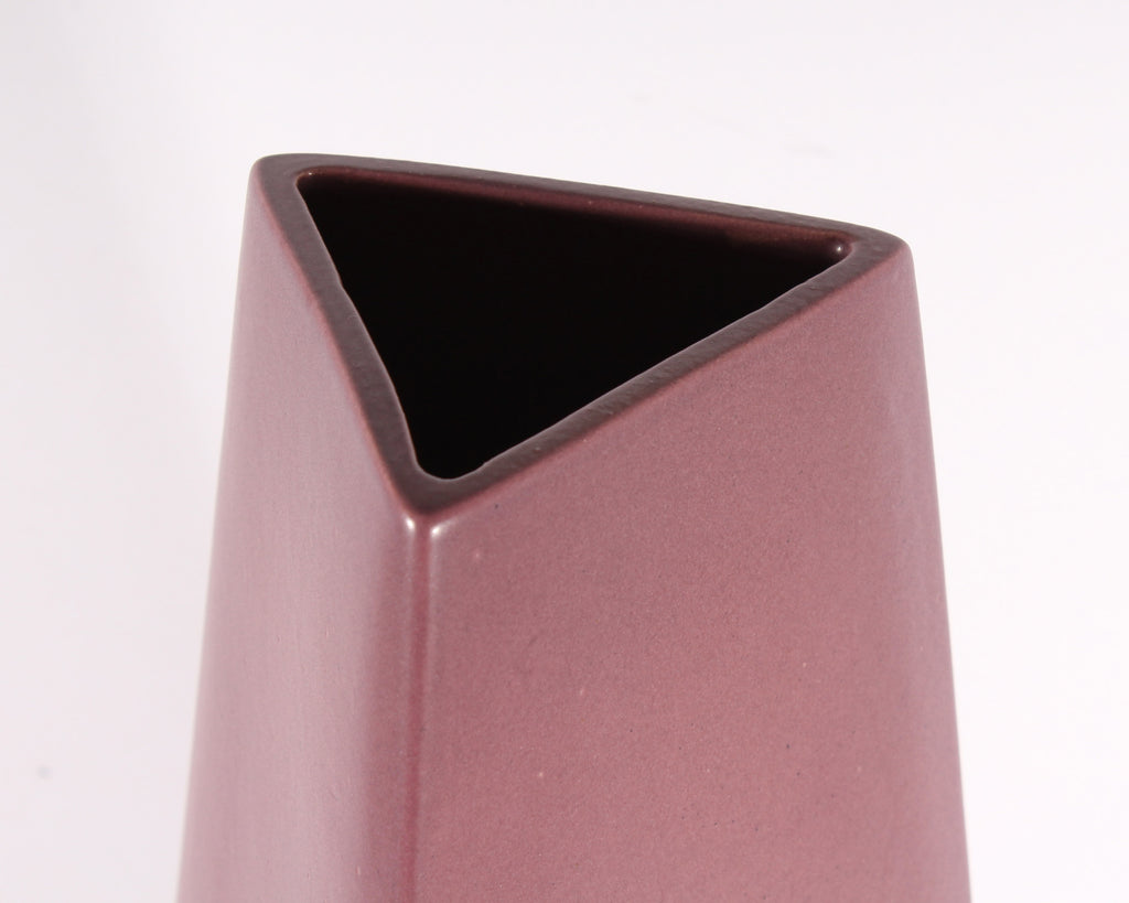 James Johnston Modernist Mauve Triangular Ceramic Vase
