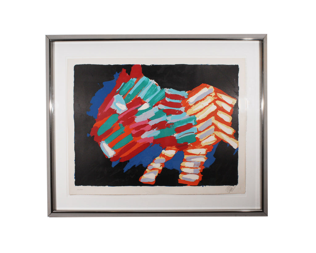 "Karel Appel Signed Limited Edition ""Cat in the Night"" Color Lithograph"