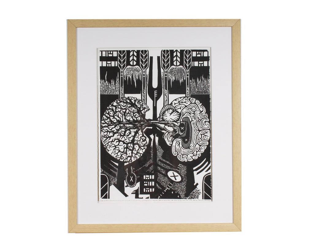 "Keith Dull ""IN Irv"" Abstract Relief Print"