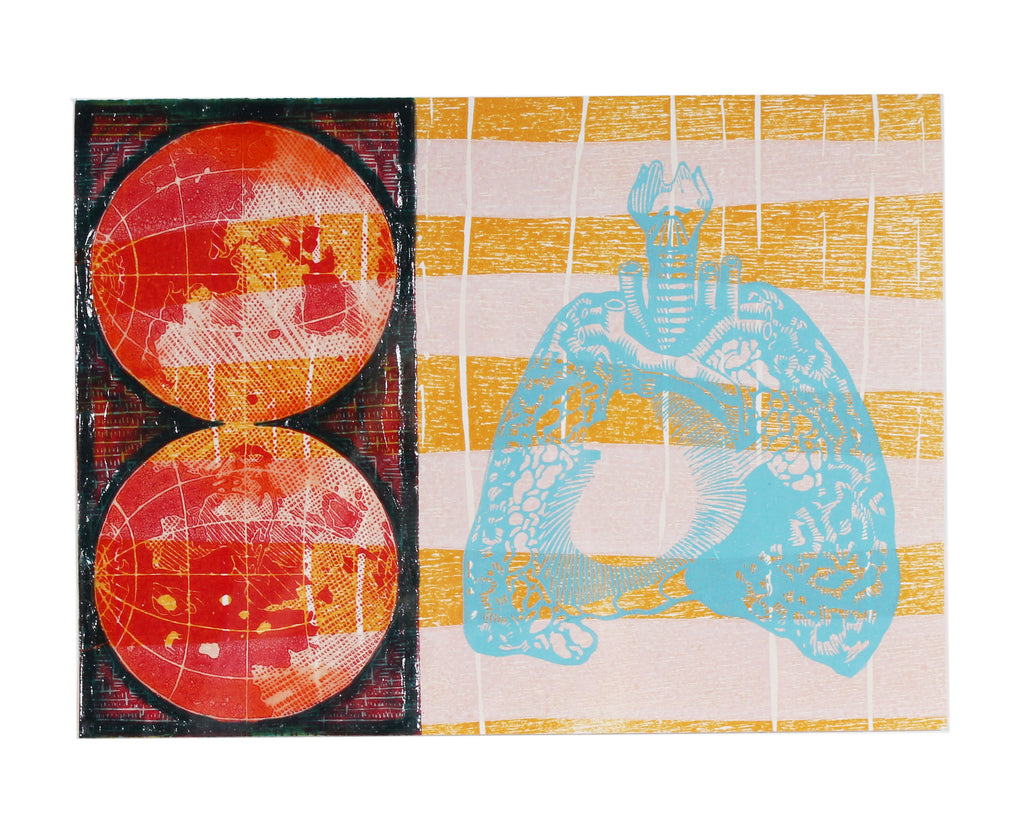 "Keith Dull ""Life on Mars"" Relief Print with Encaustic"