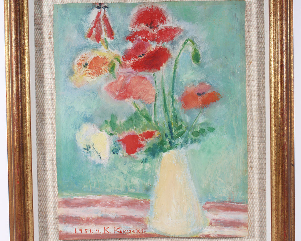 Kie Kurisaki 1951 Oil on Board Floral Still Life Painting