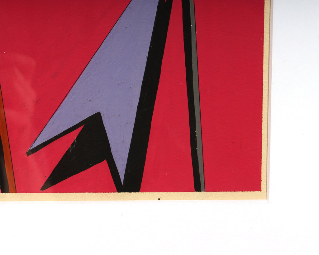 Leo Dean Williams Signed 1960s Abstract Gouache Painting