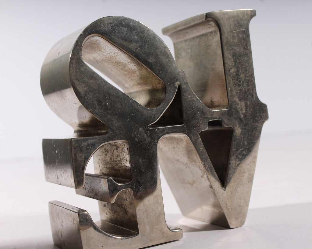 Robert Indiana LOVE Silver Tone Metal Paperweight