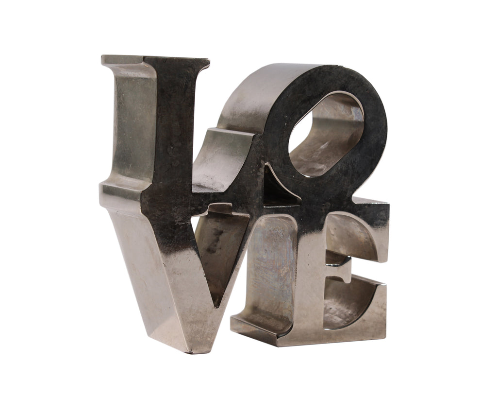 Robert Indiana LOVE Chrome Paperweight