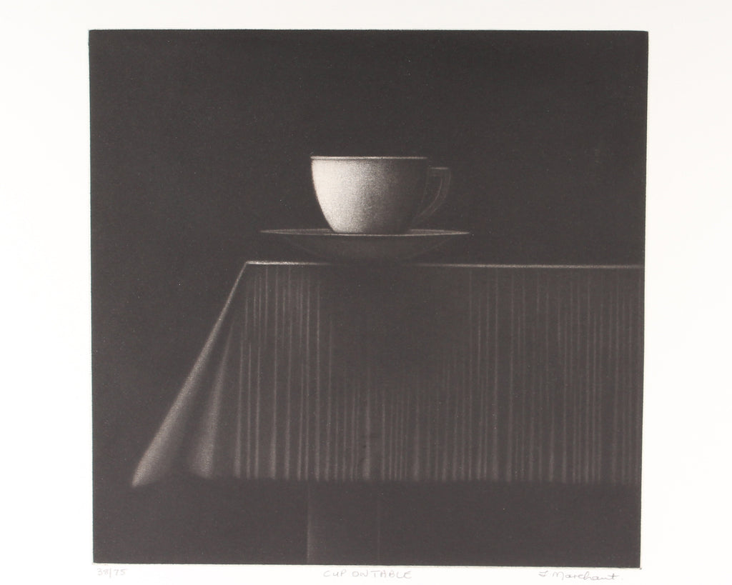 "Leonard Marchant Signed Limited Edition Mezzotint ""Cup on Table"""