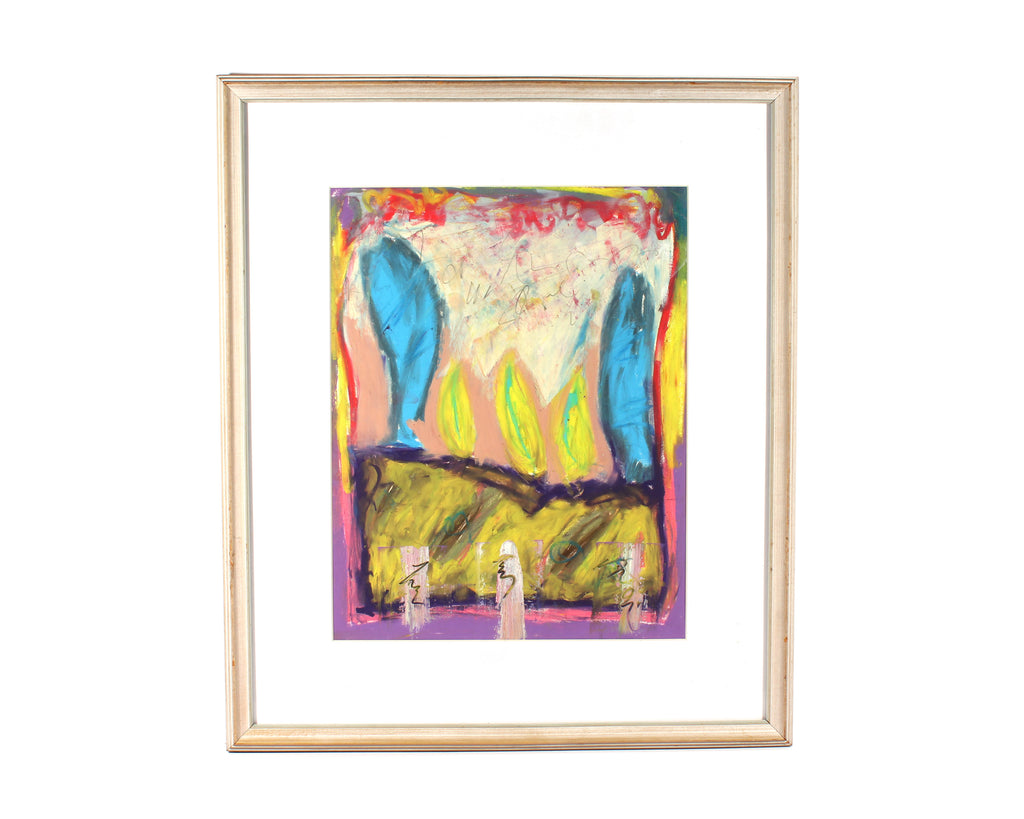 Merle Rosen Signed Oil Pastel Abstract Drawing