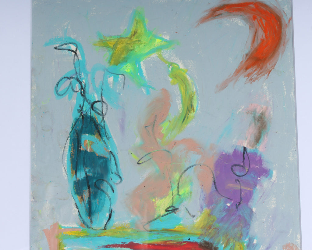 Merle Rosen Late 20th-Century Oil Pastel Abstract Still Life Drawing