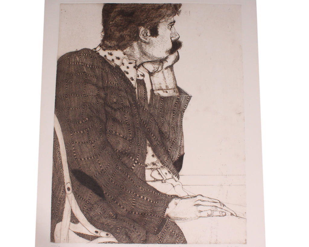 "Michael Louis Jacques Signed ""Thinking of Bonnard"" Intaglio Print"