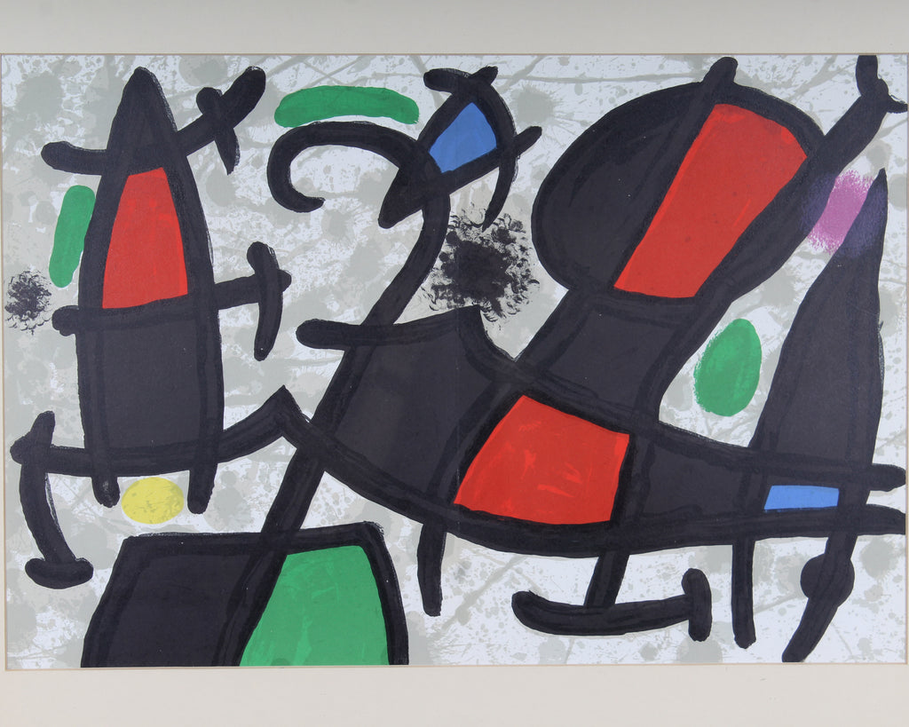 Joan Miró 1970 Non-Objective Color Lithograph for Derriere le Miroir