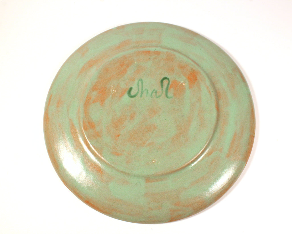 Vintage Memphis Style Studio Pottery Charger with Image of a Nude Woman