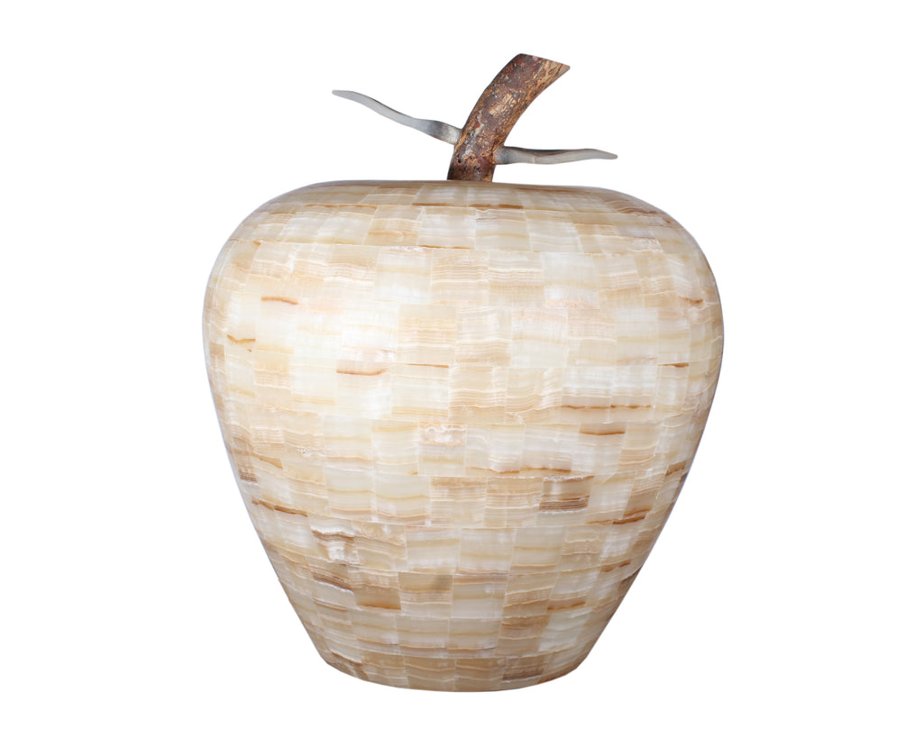 Monumental Tessellated Onyx Stone Apple Sculpture