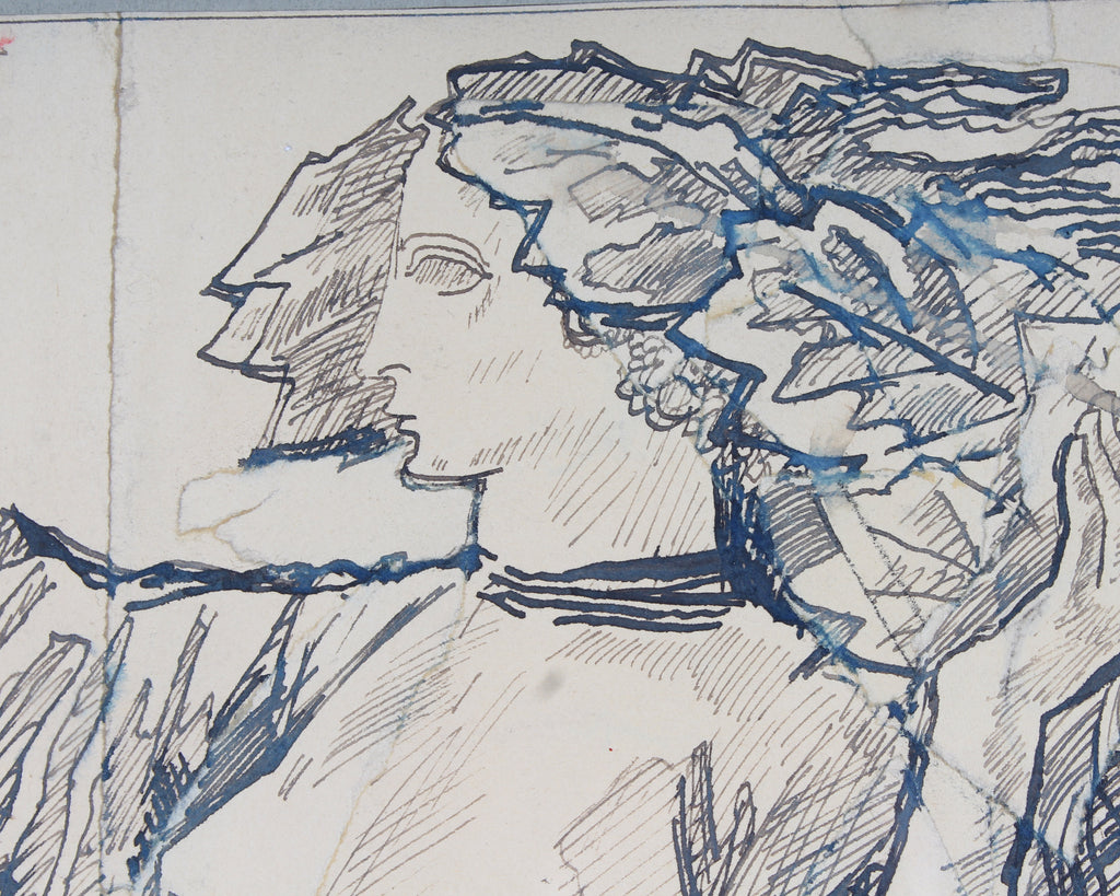 "Hans Orlowski Signed Ink on Paper ""Demeter und Pace"" Drawing"