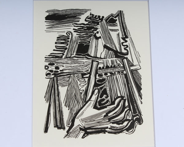 "Hans Orlowski 1951 ""Orpheus Sings"" Abstract Lithograph Print"