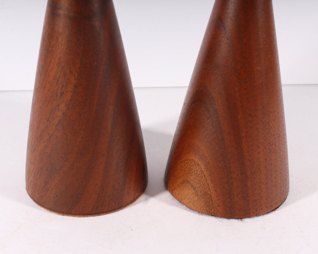 Rude Osolnik Mid Century Modern Turned Walnut Candlestick Holders