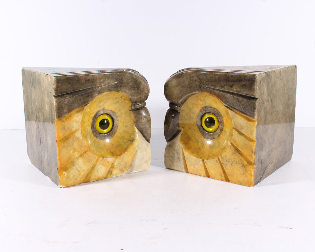 Italian Alabaster Stone Owl Bookends