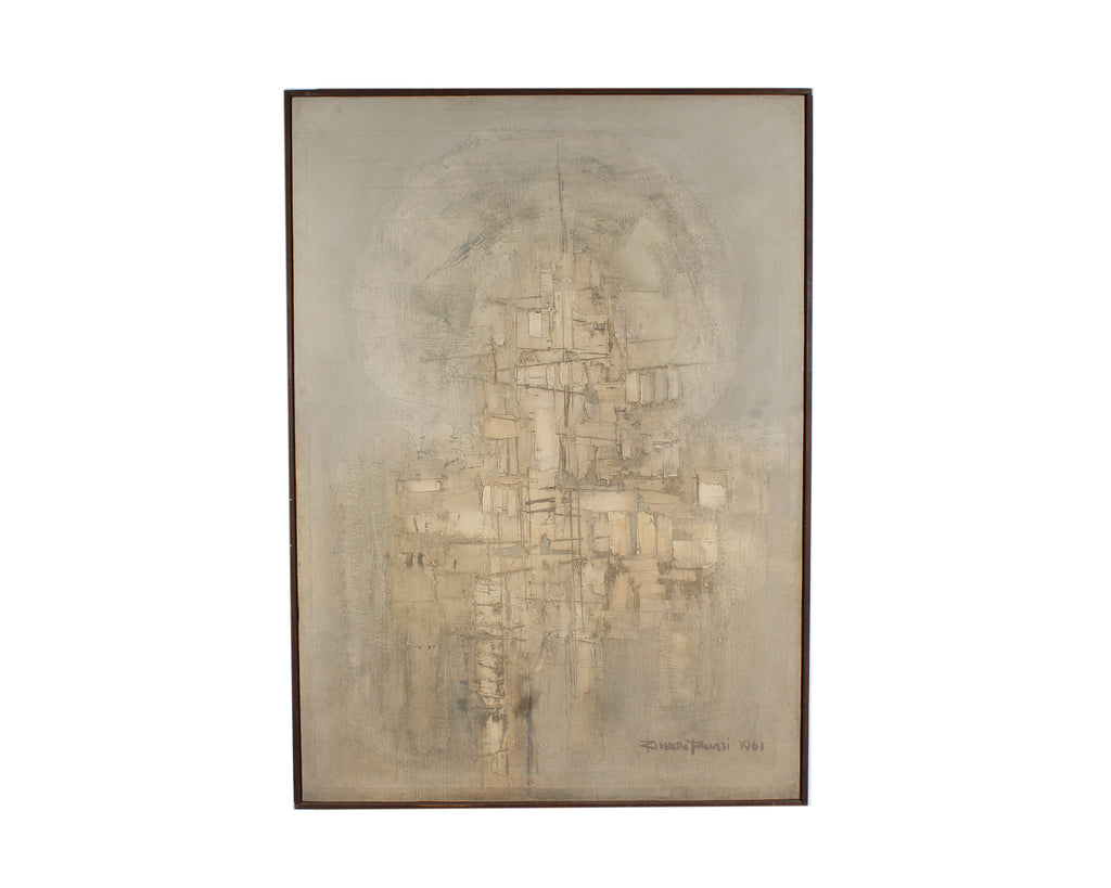 Rinaldo Paluzzi Signed 1961 Mid-Century Oil on Canvas Abstract Painting