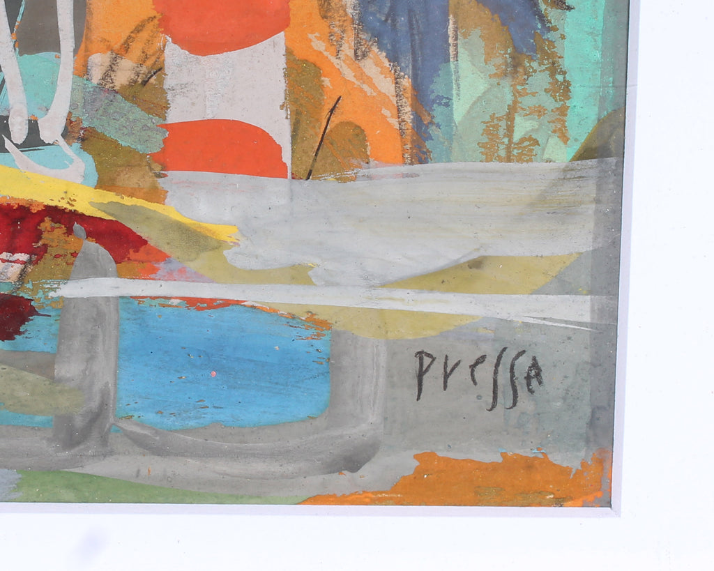 Pressa Signed Abstract Gouache Painting of a Horse
