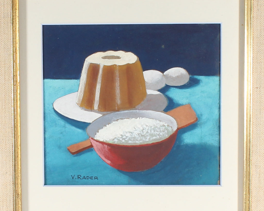Vern Rader Signed Acrylic on Board Still Life of Cake Painting