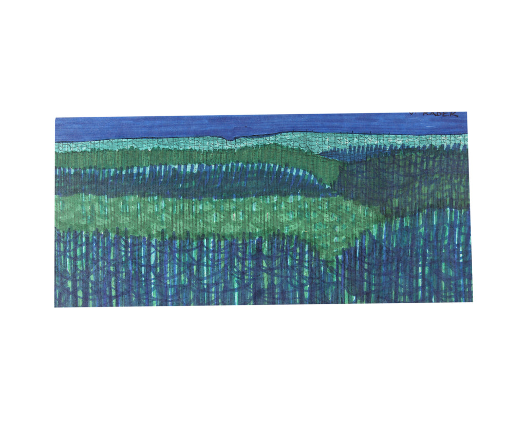 Vern Rader Signed Abstract Landscape Marker Drawing