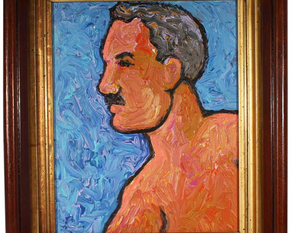 "Vern Rader Signed Acrylic on Board ""Profile"" Portrait of a Man"