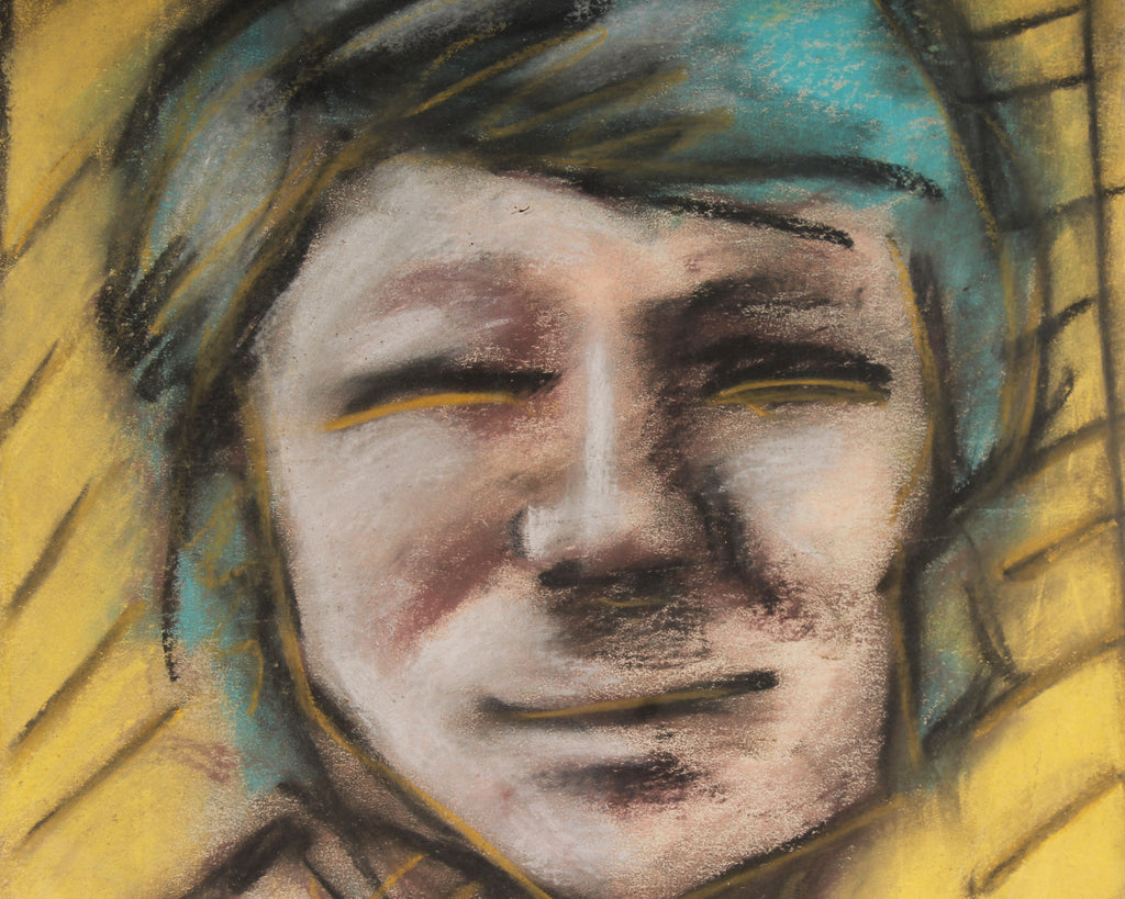 Merle Rosen Late 20th-Century Chalk Pastel Abstract Portrait
