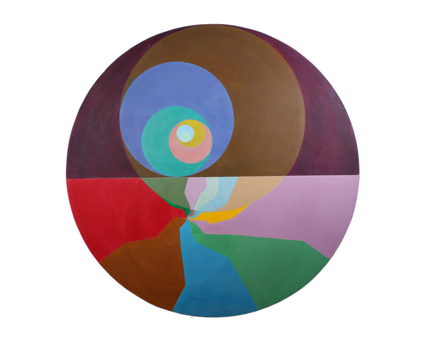 Alix French Round Acrylic on Canvas Non-Objective Painting