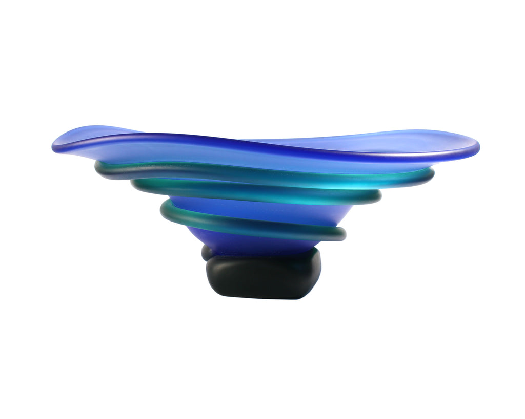 Tommie Rush Glass Green and Blue Spiral Centerpiece Bowl