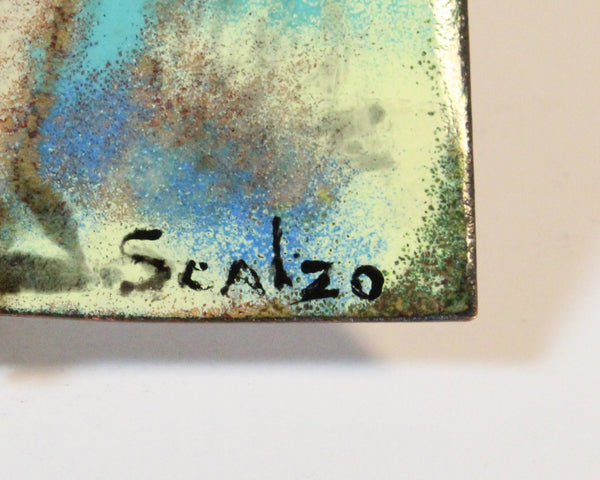 Lillian Scalzo Signed Mid-Century Enamel Abstract Composition of Nudes