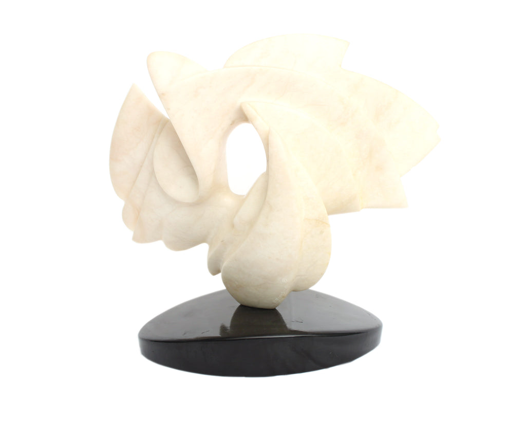 Brian Grossman Signed Carved White Alabaster Abstract Sculpture