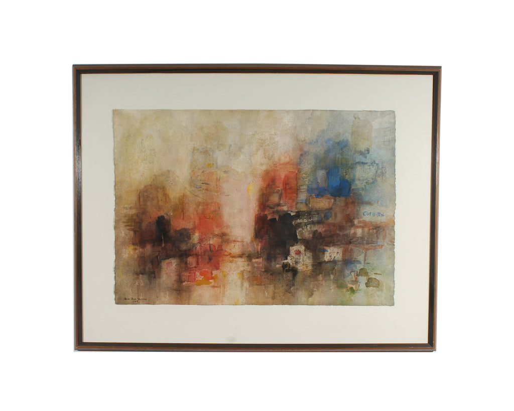 Jean Paul Slusser 1968 Watercolor Non-Objective Painting