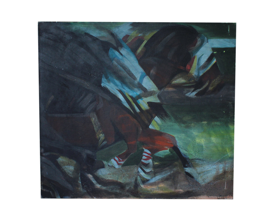 Katharine Sutphin 1985 Signed Oil on Canvas Painting of Racehorses