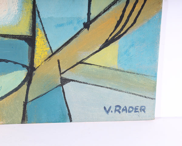Vern Rader Signed Non-Objective Oil on Board Painting