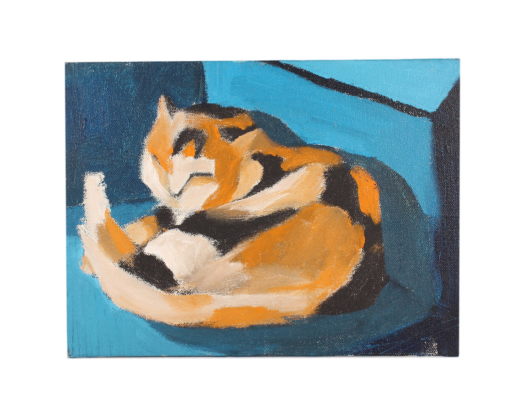 Vern Rader Signed Acrylic on Board Painting of a Cat