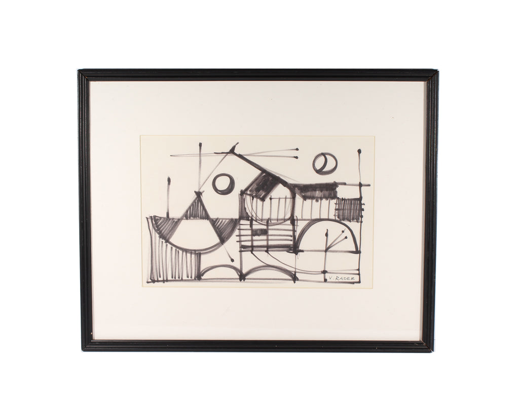 Vern Rader Signed Abstract Geometric Marker Drawing
