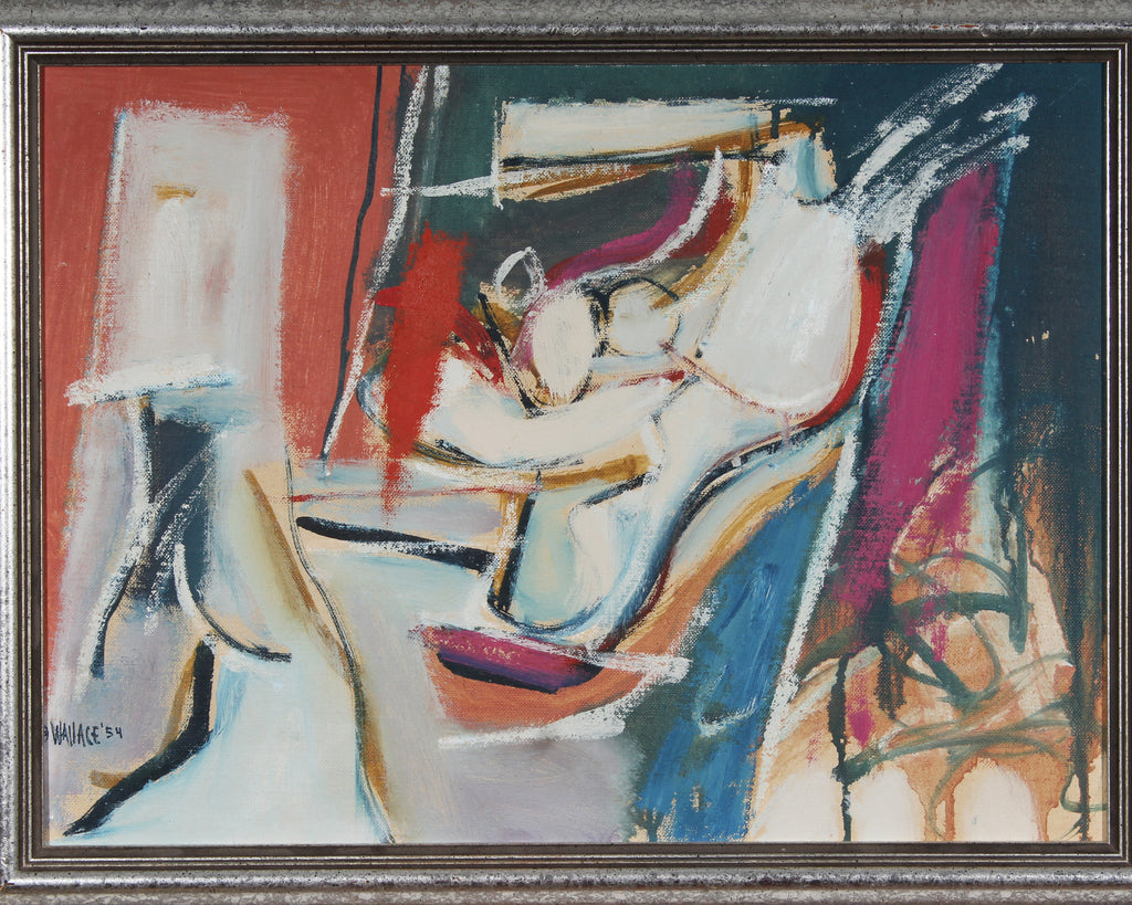 Wallace 1954 Mid Century Modern Oil on Board Abstract Painting