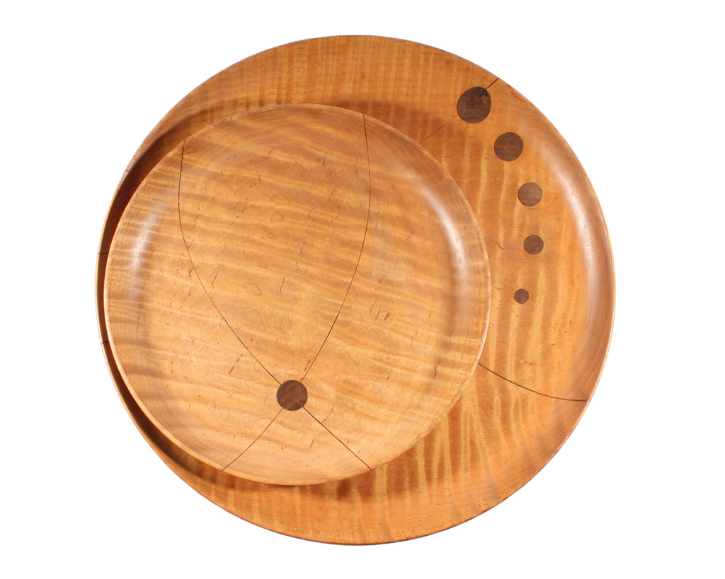 1981 Artisan-Made Inlaid Wooden Plates