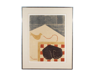 "Barbara Young Signed Limited Edition ""Sleeping Cats Lie"" Woodblock Print"