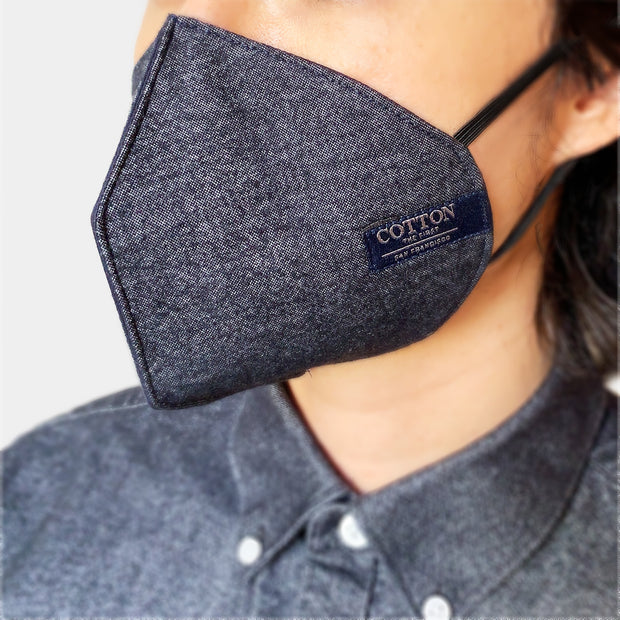 Reusable Black face masks made with three layers of cotton fabric, adjustable straps, soft and comfortable, easy to breathe. Made in the USA.