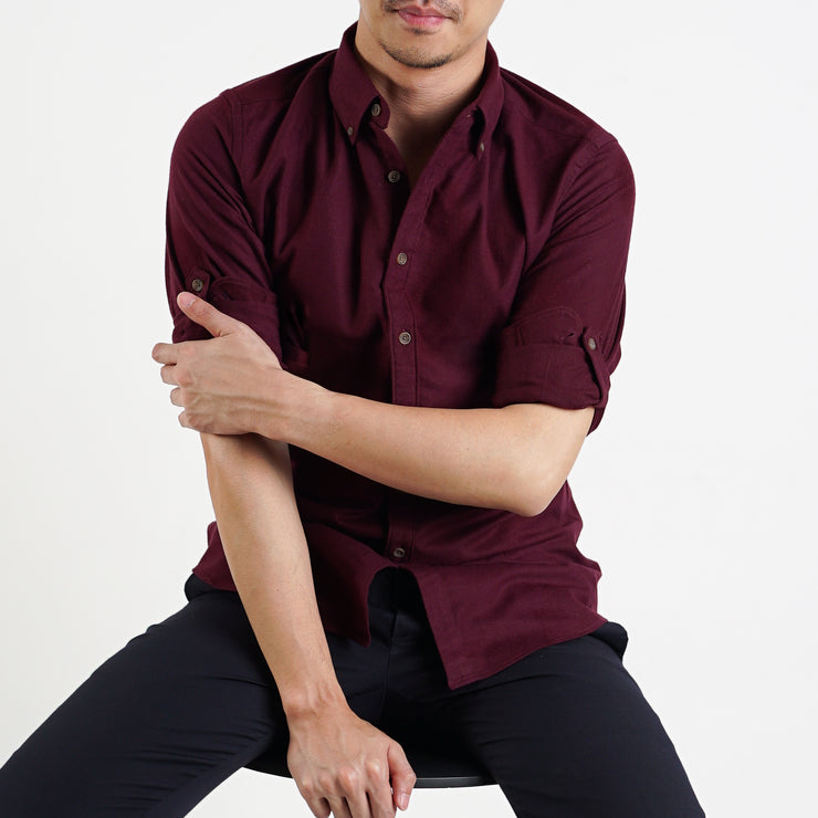 The Softest Slim Fit Shirt in Sangria Red