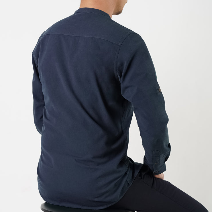 The Mandarin Slim Fit Shirt in Prussian Blue