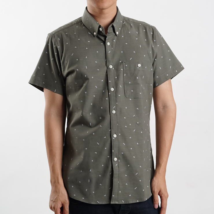 Tetris Short Sleeve Shirt in Mossy Green