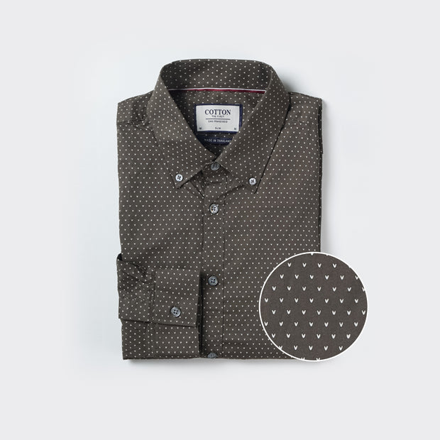 Slim Fit Chevron Shirt in Olive Green