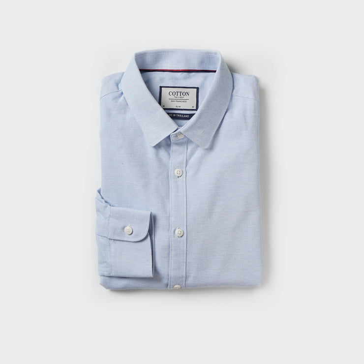 Slim Fit Shirt in Sky Blue Twill