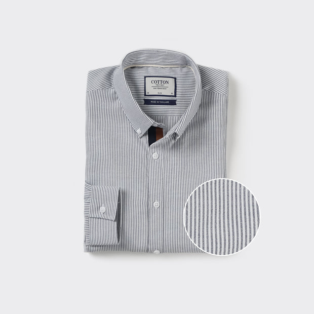 Oxford Slim Fit Shirt in Grey and White