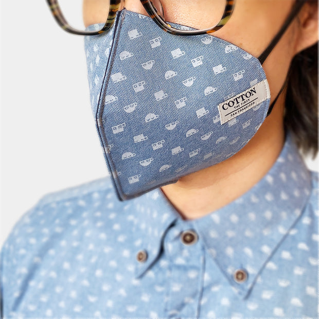 Reusable face masks in light blue made with three layers of cotton fabric, adjustable straps, soft and comfortable, easy to breathe. Made in the USA.