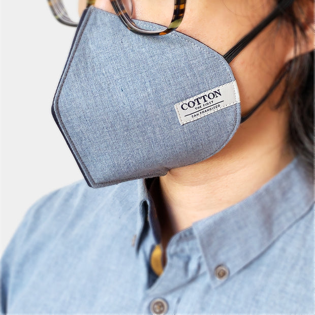 Reusable face masks made with three layers of cotton fabric, adjustable straps, soft and comfortable, easy to breathe. Made in the USA.